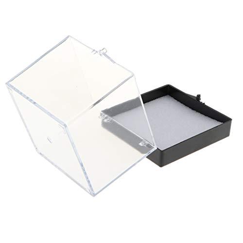 F Fityle Mini Vitrine Schaukasten Staubschutz Box Aufbewahrungsbox für Rock, Mineralien, Gesteinsproben und Sammlerstücke - 6.5x6.5x7cm
