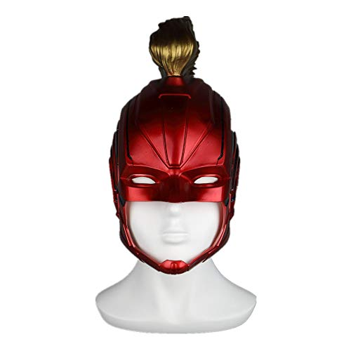 (K-Y YK Captain Marvel Mask Carol Danvers Headgear Helmet Halloween Movie Props Cosplay Hero (red))