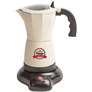 Bestron Moka elettrica con base, Vintage, Per 6 tazzine da caffè, 480 Watt, Alluminio, Beige