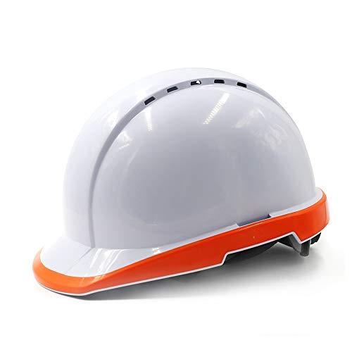 ChengLao Schutzhelm Schutzhelm - Fluoreszierende Helmbaustelle Bauarbeiter führende Art elektrische Arbeitsversicherung Helmbau weiße Milbenlüftung Site-Helm (Color : Fluorescent orange)