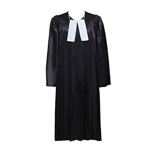 Cosplayitem Unisex Richter Kostüm Kleid mit Kragen Fancy Dress für Court Law Karneval Party Cosplay Kostüm Schwarz Plus (Richter Kostüm Kleid)