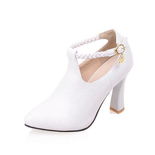 AllhqFashion Femme Pointu Boucle Matière Mélangee Couleur Unie à Talon Haut Chaussures Légeres Blanc