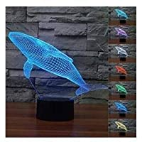 New 3D Lovely Whale Night Light Illusion Lamp 7 Color Change LED Touch USB Table Gift Kids Toys Decor Decorations Christmas Valentines Gift