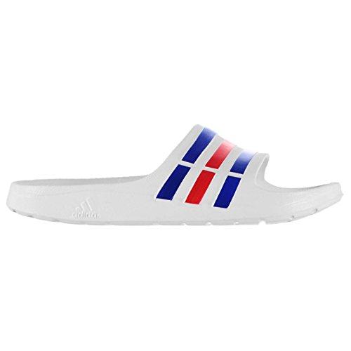 Adidas Herren Duramo Schwimmbad Schuhe Sandalen Flip Flops Sommer Strand Neu White/Blue/Red 12 (47.3) (Flop 12 Blue Flip)