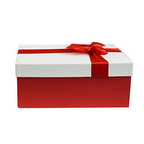 Emartbuy Starrer Luxus Rechteckige Präsentations-GeschenkSchachtel, 31 x 21 x 15 cm Rote Schachtel mit Creme Deckel, Schokoladenbrauner Innenraum und Satin Zierschleifenband