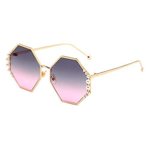 HQMGLASSES Damen-Sunglasses Designer-Pearl-Verschönerung Gold-Ton Frame Gradient Lens Shades Sonnenbrille für Driving/Holiday, UV 400 Schutz,05