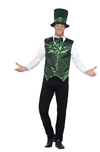 Smiffys Costume homme chanceux, Vert, avec veste, fausse chemise, nœud papillon et chape