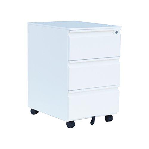 Büro-Rollcontainer / Bürocontainer aus Metall 3 Schübe weiß 567847 Maße: 620 x 390 x 500 mm (HxBxT)