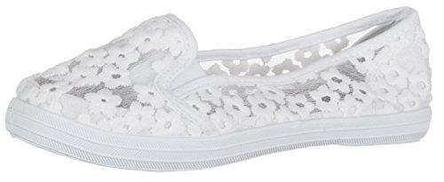 BRANDSSELLER Damen Slipper/Halbschuh/Blumen Mesh Design - Farbe: Weiß - Größe: 40