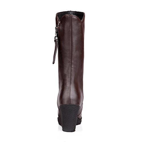 Meijia ,  Damen Biker Boots Brown(Artificial wool lining)