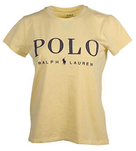 Ralph Lauren Damen T-Shirt - Rundhals - Navy, Weiß, Pink, Blau, Gelb (Gelb, S)