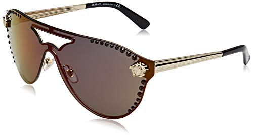 Versace Damen 0VE2161B 1252W6 42 Sonnenbrille, Pale Gold/Darkgreymirrorred