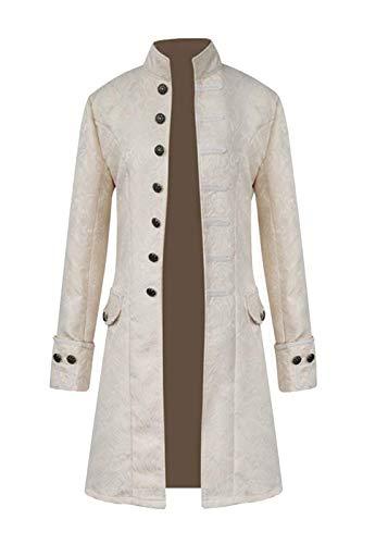 (FuliMall Herren Punk Retro Mäntel Steampunk Langarm Jacke Mittellang Mantel Mittelalter Kostüm Cosplay Uniform für Männer, Weiß, L)
