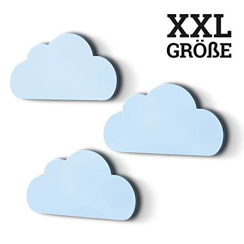 3er Set XXL Wolken mit 3D-Effekt als Kinderzimmer Deko Wandtattoo Kinderzimmer 30x15 cm 5mm Kunststoff (hellblau)