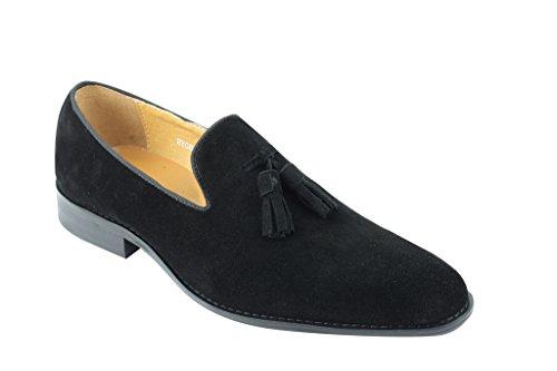 Herren Echt Wildleder Leder blau & grün Smart Lapsus Quaste Slipper Vintage Schuhe Schwarz