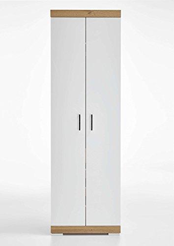 AVANTI TRENDSTORE - Bristo - Armadio Alto da Guardaroba, con 2 Ante, in Laminato di Quercia Antica con Ante in Bianco Lucido, Dimensioni: Lap 60x195x35 cm