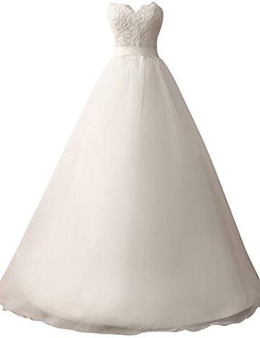 HUINI Bretelles en Dentelle Appliques Sweetheart Robes de Mari¨¦e Organza une Ligne de Robes de Mari¨¦e Size 50