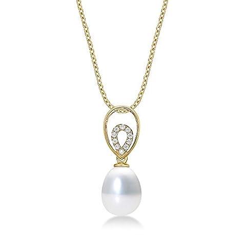 Pearl Drop Anhänger Halskette mit Single 8–8,5mm Süßwasserperle Weiß und Glänzend Weißen Zirkonia Steinen Set in luxuriöser 9K Gelb Gold