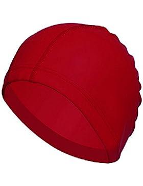 Hrph Nueva elástico impermeable PU Tela Proteja los oídos largos Deportes del pelo de la nadada piscina sombrero...