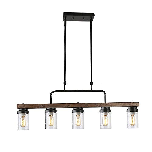 CHTG Metall Holz und Glas Kronleuchter Pendelleuchte Retro rustikal Loft Antik Lampe Edison Vintage Rohr Wandlampe dekorative Leuchten und Deckenleuchte Leuchte (DREI Lichter) (5 Downward Lights) -