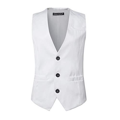 Mens Classic Suits Weste 2018 Hochwertige Herringbone Gilet Männer Casual Slim Fit Business Männliche Einreiher Westen Homme (Farbe : Weiß, Größe : L)