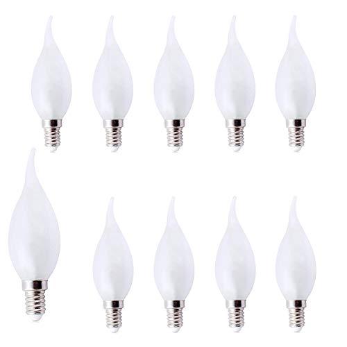 Edison Glühbirne E14 - Packung mit 10 glühlampe E14 vintage warmweiß 25W mattiert / Perle, 240V, kleine Edison Ses E14 lampe für Kronleuchter, Nachttischlampe, Nachtlicht, Salzlampe usw - Kleines Foyer Kronleuchter