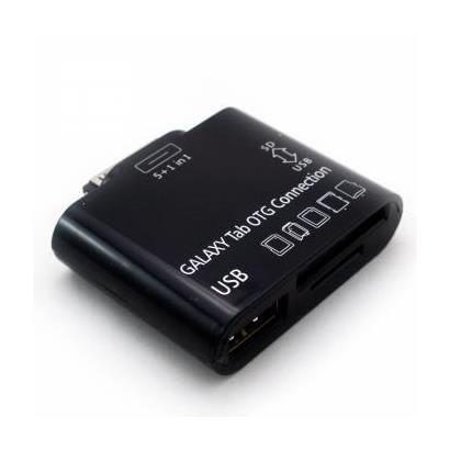 RAVY Tech Adaptateur Samsung Galaxy Tab OTG USB et Lecteur de cartes 5 en 1 / Connectique Noir