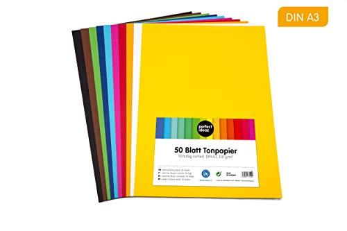 perfect ideaz 50 Blatt buntes DIN-A3 Ton-Papier, Ton-Zeichen-Papiere bunt, Set aus 10 Farben, bunte Blätter in 130g/m², Bastel-Bogen farbig, Zubehör zum Basteln, farbiges Material, DIY-Bedarf -