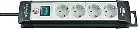 Brennenstuhl Premium-Line, Steckdosenleiste 4-fach (Steckerleiste mit Schalter und 5m Kabel - 45° Anordnung der Steckdosen) Farbe: lichtgrau / schwarz