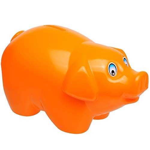 alles-meine.de GmbH große XL - Spardose - Schwein - orange - 19 cm groß - stabile Sparbüchse aus Kunststoff / Plastik - Sparschwein - Glücksbringer - für Kinder & Erwachsene / lu..