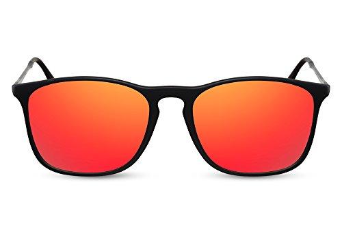 Cheapass Sonnenbrille Schwarz-e Rot-Gold Verspiegelt UV-400 Festival-Brille Metall Damen Herren