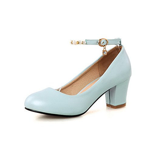 AllhqFashion Damen Schnalle Rund Zehe Mittler Absatz Pu Leder Rein Pumps Schuhe Blau