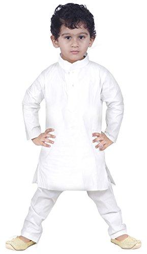 JBN Creation Boys Cotton Kurta & Pyjama Set For Kids (Color: White)