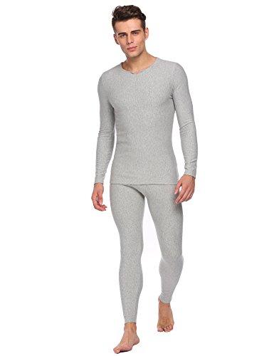 ADOME Herren Fleece Gefüttert Thermounterwäsche Einfarbig Garnitur Winter Basic Unterwäsche Set Nachtwäsche Hemd und Hose Grau L (Herren-nachtwäsche Grau)