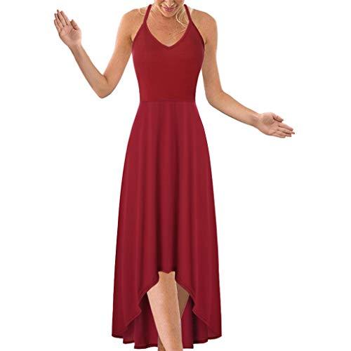 Watopi Damenmode Sommerkleid lässig sexy Abendkleider ärmellos rückenfrei cocktailkleid solide Halfter Mitte Kalb Kleid