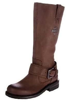HARLEY DAVIDSON Mesdames Belinda 38,1cm Grand harnais en cuir marron Fermeture Éclair Biker Bottes - marron - marron, femmes 36.5 EU