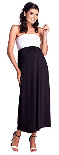 zeta-ville-maternite-robe-maxi-bandeau-plisse-empire-taille-femme-268c-noir-blanc-eu-40-42-2xl