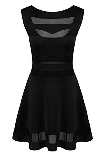 Zeagoo Damen Sexy Bodycon Minikleid Mini Dress Cocktailkleid Mit Mensh