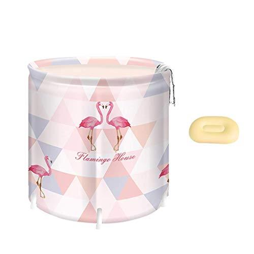Warme faltende Badewanne des Erwachsenen, die mit Kissen, heißer Wanne, PVC-Swimmingpool, beweglicher Badewanne, verdickter Duschwanne, freiem aufblasbarem 65 * 70cm Flamingo-Muster freistehend ist