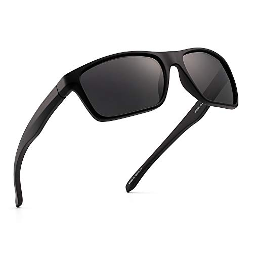 Polarisiert Sport Sonnenbrille Spiegel Wickeln Um Fahren Angeln Damen Herren(Schwarz/Spiegel Grau)