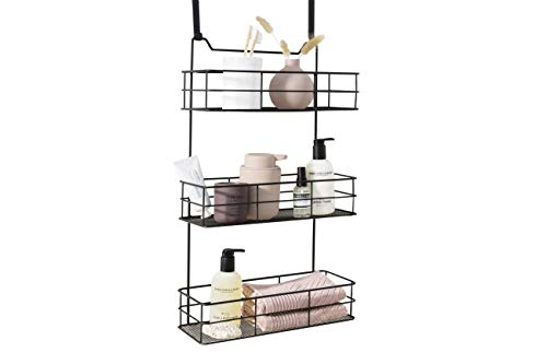 LIFA LIVING Türregal zum Einhängen, Hängekorb für Bad und Küche 3 Ablagen, Hängeregal für Küche und Bad, Schwarz Metall, 35 (B) x 15 (T) x 60 (H) cm