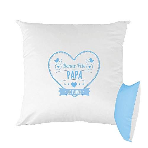 Mygoodprice cuscino bicolore stampato 40x 40cm buona festa papà cuore blu marrone