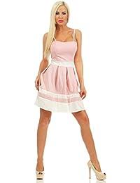11140 Fashion4Young Damen Mini Kleid Sommerkleid Spaghettiträger Glockenrockkleid Minikleid