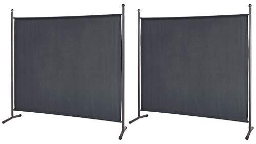 Dekorative Paravents (GRASEKAMP Qualität seit 1972 2 Stück Stellwand 178x178cm Grau Paravent Raumteiler Trennwand Sichtschutz)