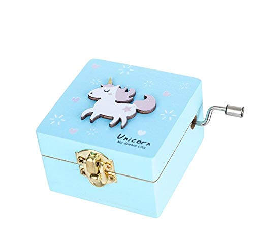 Gift Creative Antique Carved Wooden Game Of Unicorn Hand Music Box B -