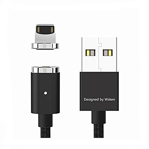 Preisvergleich Produktbild WSKEN Magnetische Blitzkabel,  Mini2 LED USB Sync und schnelle Ladekabel für Apple iProdukt X / 8 / 7 / SE 6 6 S Plus pad Mini2 3 4 Air 2 pod (Schwarz)