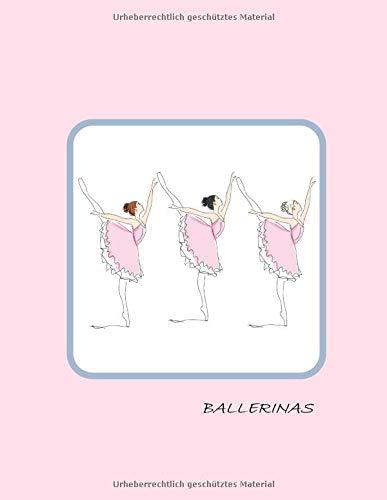 Ballerinas: Groß, liniert, Notizbuch für Kinder mit Seiten zum Ausfüllen,Einkleben,Schreiben,Zeichnen und Ausmalen