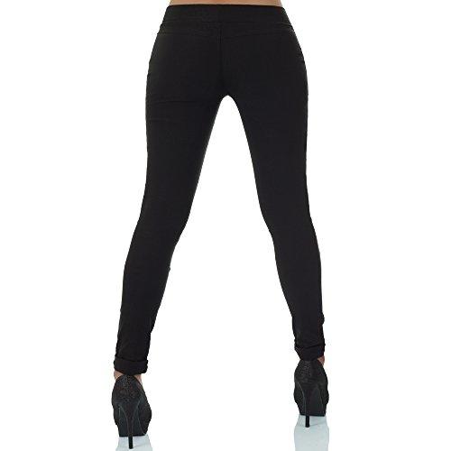 malucas Damen Hose Stoffhose Stretch Röhre Skinny Leggings Jeggings Treggings Leggins Slim Fit Schwarz