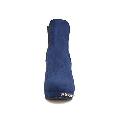 VogueZone009 Damen Rein Hoher Absatz Rund Zehe Blend-Materialien Elastic Band Stiefel, Blau, 42
