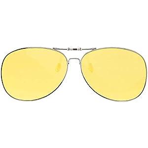 PEARL Brillenclips: Nachtsicht-Brillenclip im Pilotenbrillen-Design, polarisiert, UV400 (Nachtsicht Clip)